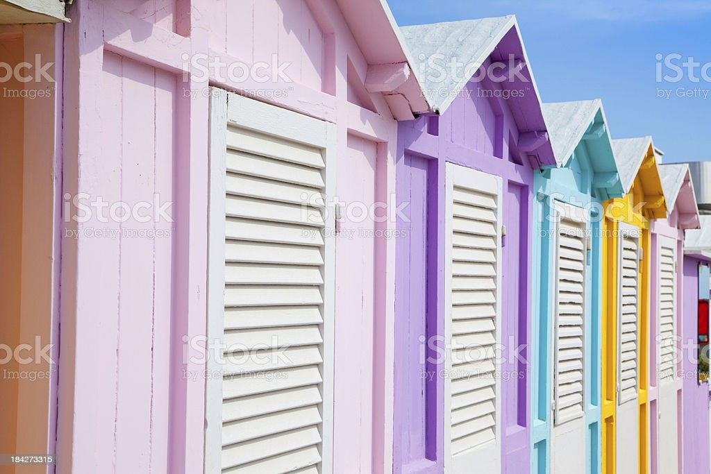 Beach huts in Rimini royalty-free stock photo