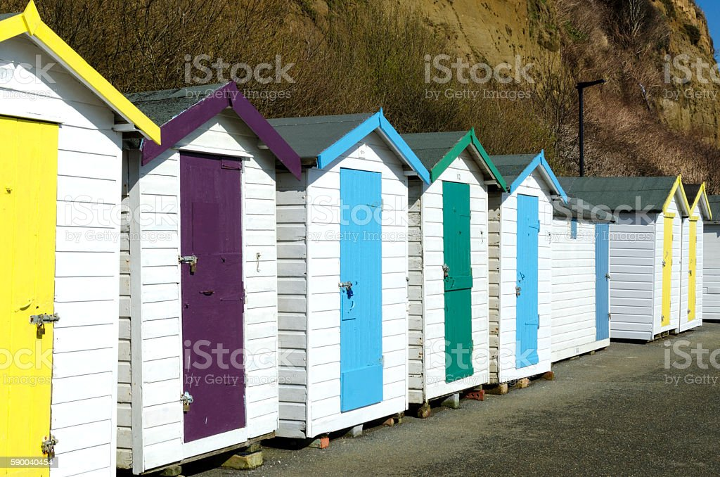Beach huts in Shanklin on the Isle of Wight, UK stock photo