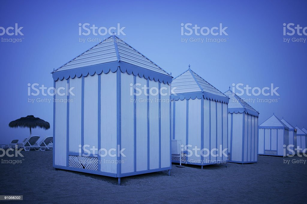 Beach huts in Tenerife royalty-free stock photo
