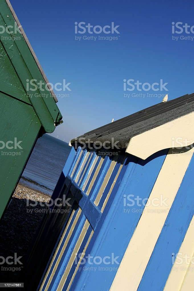 Beach huts in the South East of England. stock photo