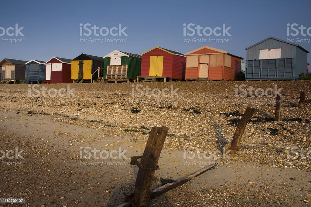 Beach huts in Whistable, Kent stock photo