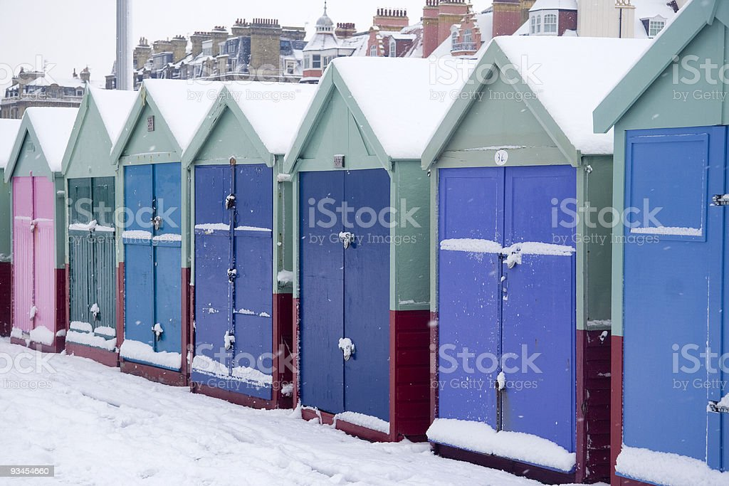 Beach huts in winter stock photo