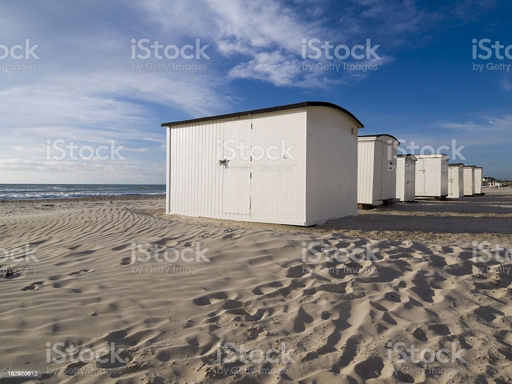 Beach huts near Lokken, Denmark royalty-free stock photo