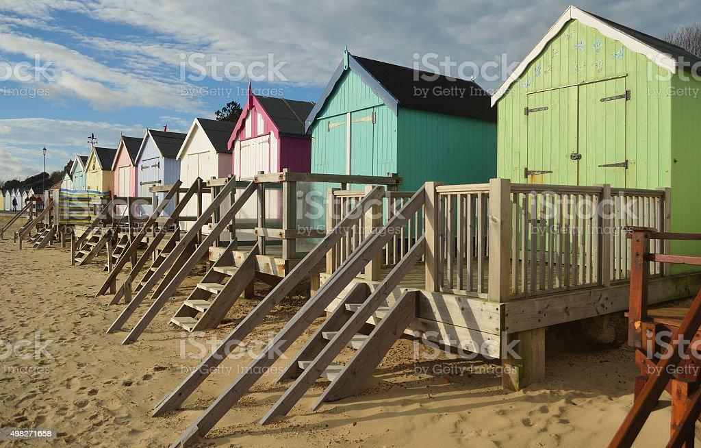 Beach huts on  Felixstowe seafront Suffolk stock photo