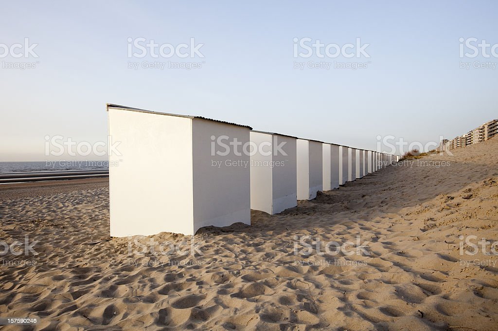 Beach huts perspective royalty-free stock photo