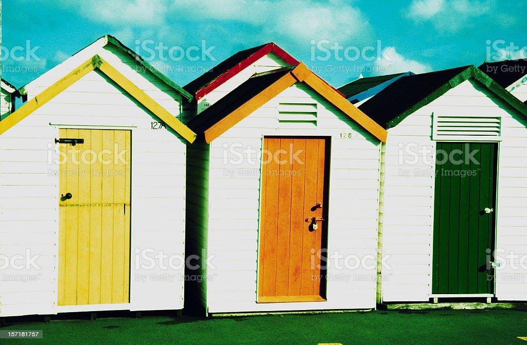 Beach huts, Sidmouth, Devon, UK royalty-free stock photo