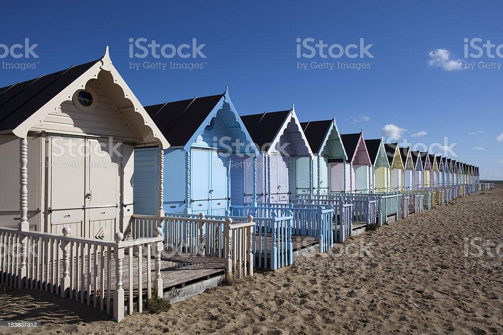 Beach Huts, West Mersea, Essex, England stock photo