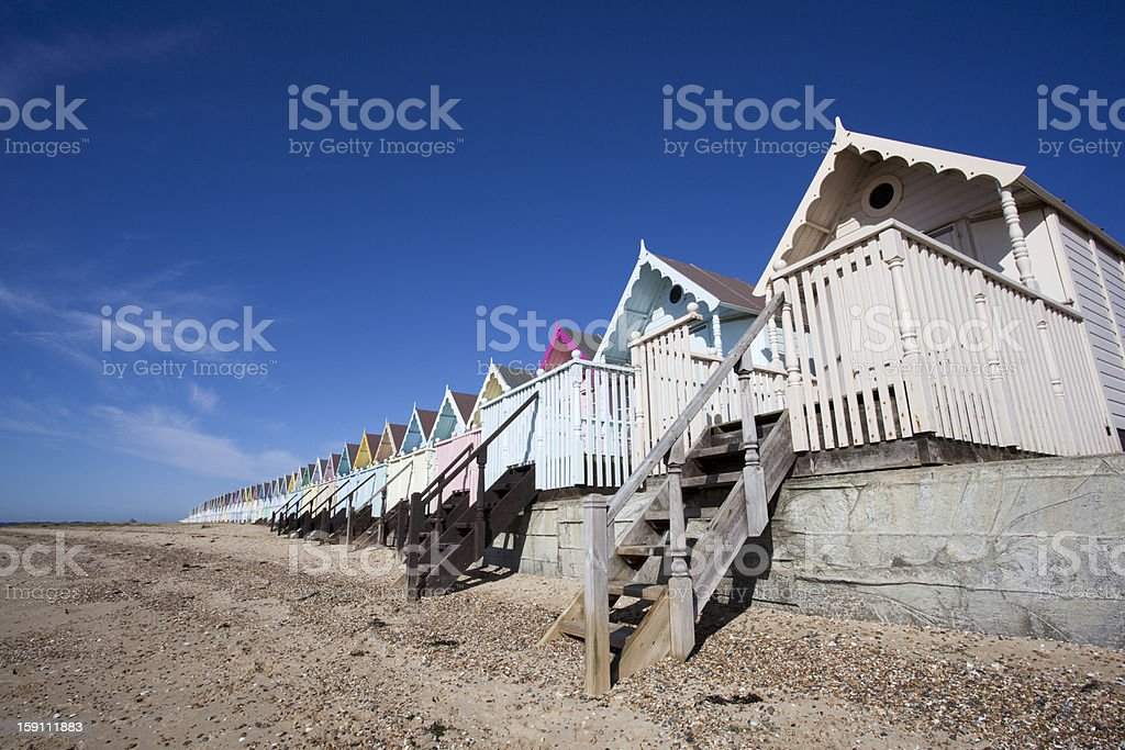 Beach Huts, West Mersea, Essex, England royalty-free stock photo