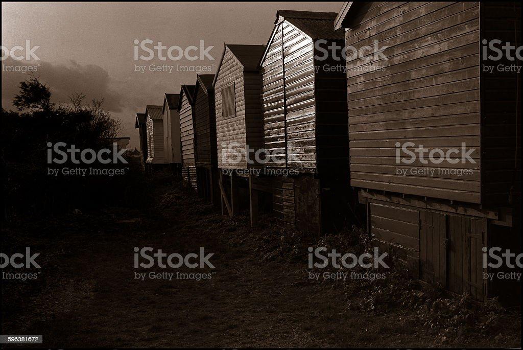 Beach huts Whitstable stock photo