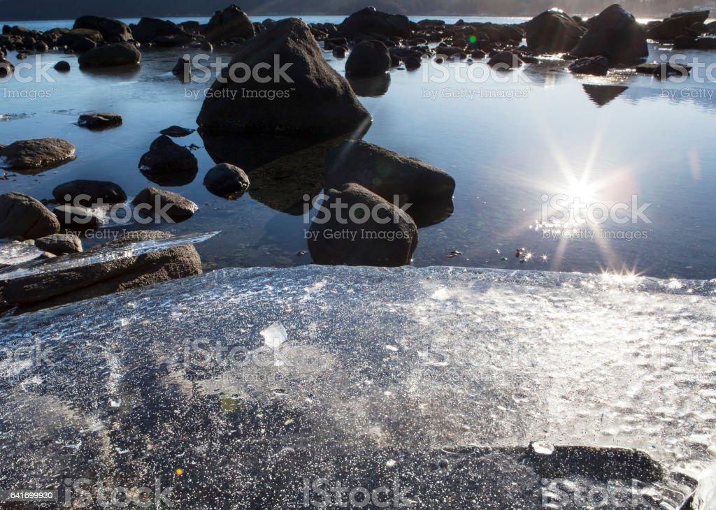 Beach Ice at Sunset stock photo
