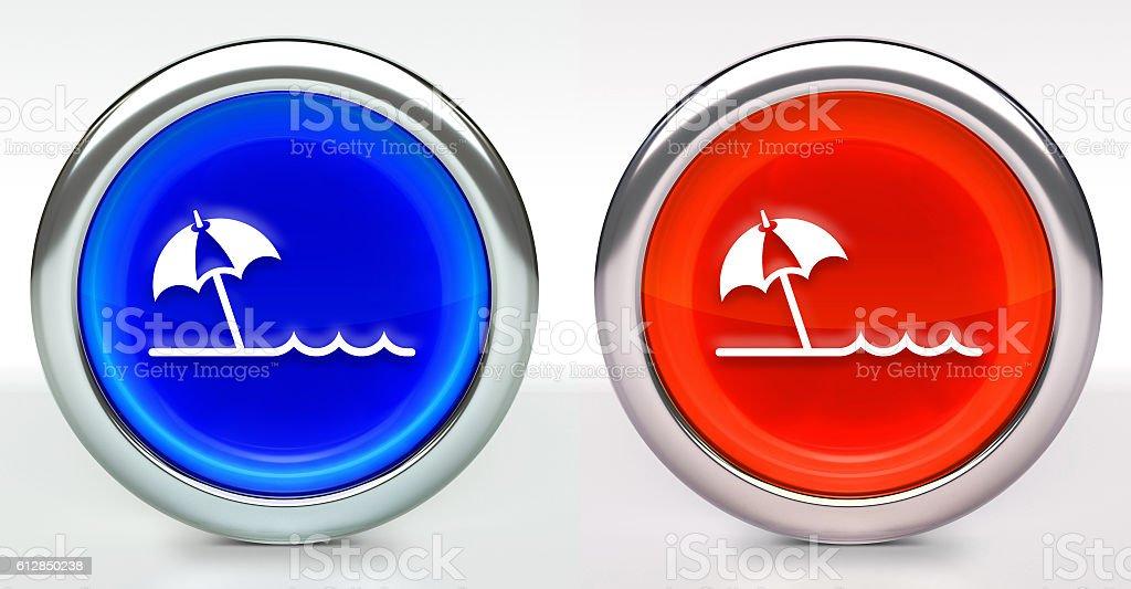 Beach Icon on Button with Metallic Rim stock photo