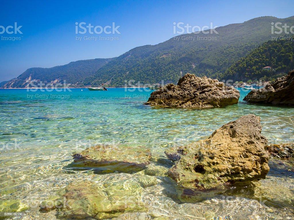 Beach in Agios Nikitas stock photo