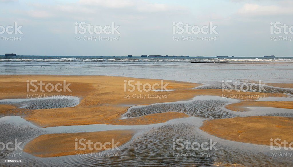 Beach in Arromanches,Normandy royalty-free stock photo