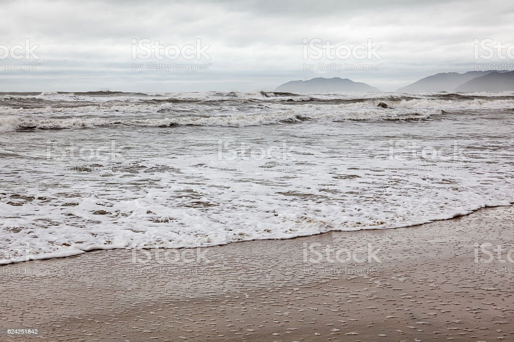 Beach in bad weather outside Hue stock photo