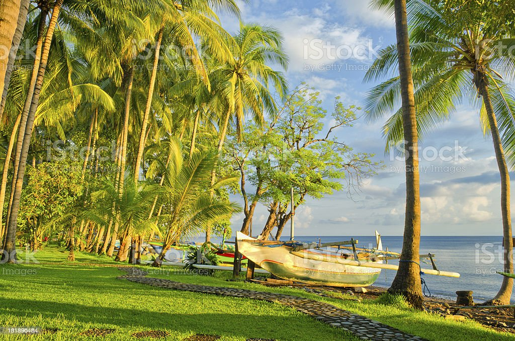 beach in Bali Indonesia with Jukung royalty-free stock photo