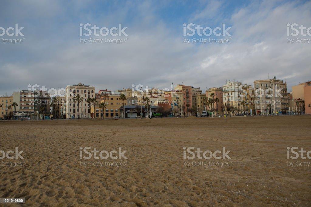 Beach in Barcelona, Spain stock photo