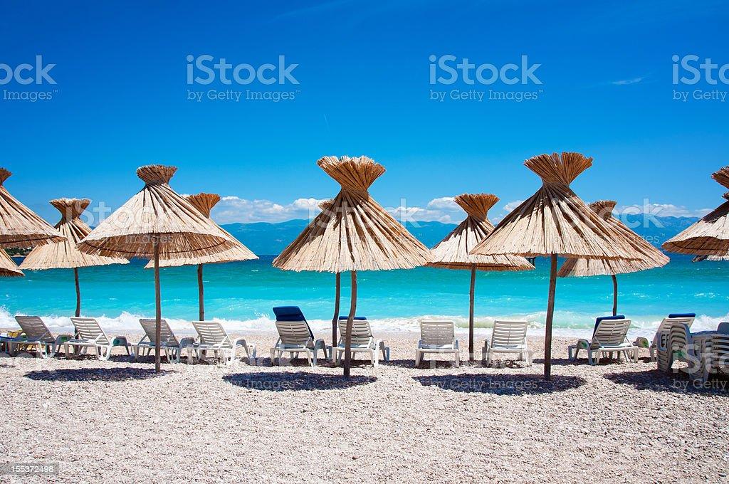 Beach in Baska on island Krk stock photo