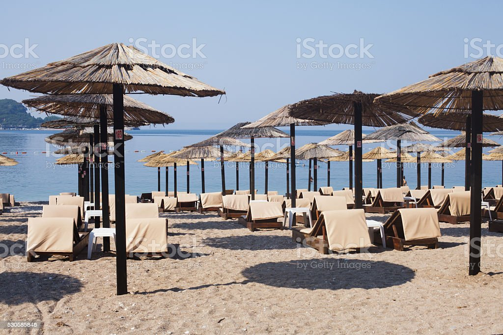 Beach in Budva, Montenegro stock photo