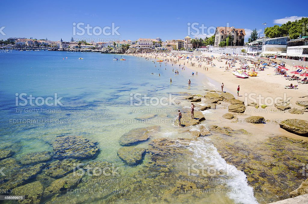 Beach in Cascais, Portugal on a hot summer day stock photo
