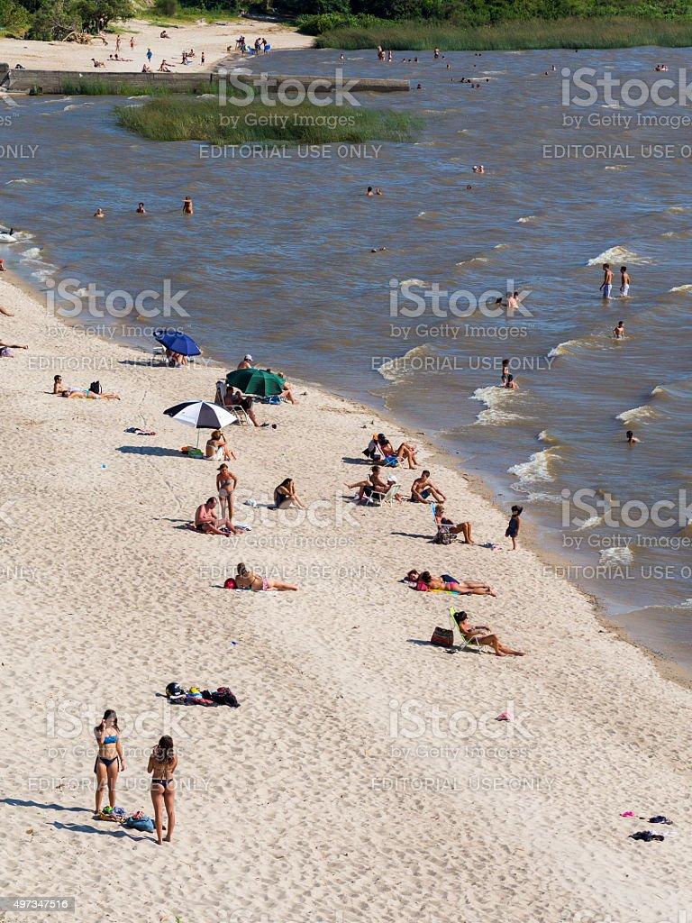 Beach in Colonia del Sacramento, Uruguay stock photo
