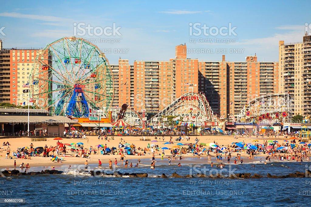 Beach in Coney Island stock photo