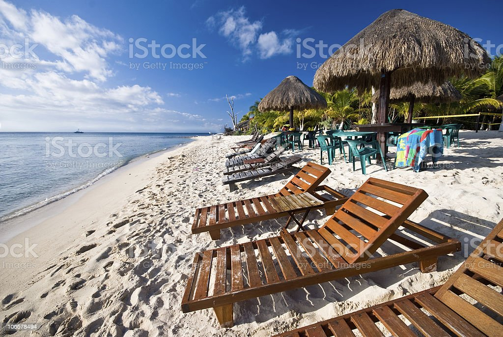 Beach in Cozumel, Mexico stock photo