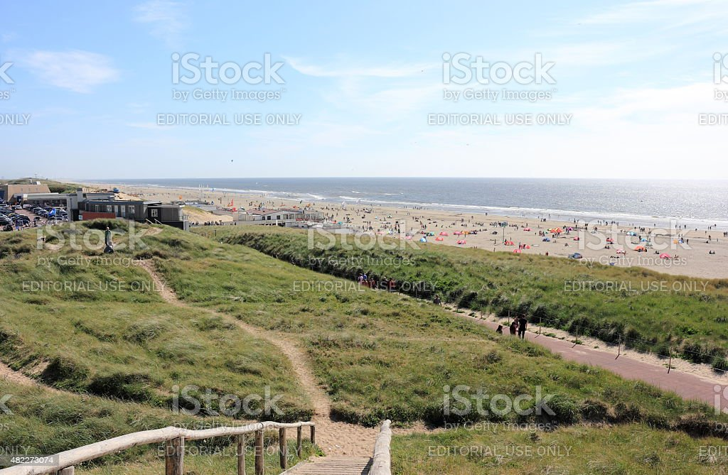 Beach in Egmond aan Zee. North Sea, the Netherlands. stock photo