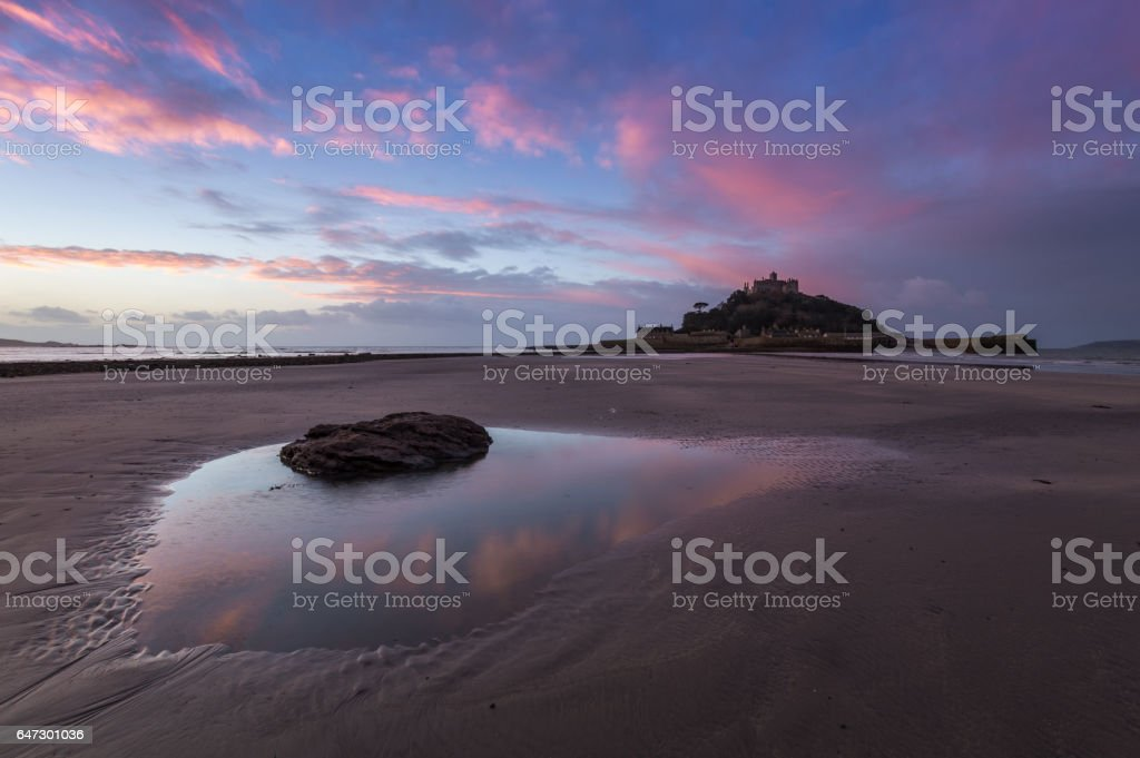 Beach in Front of St Michael's Mount stock photo