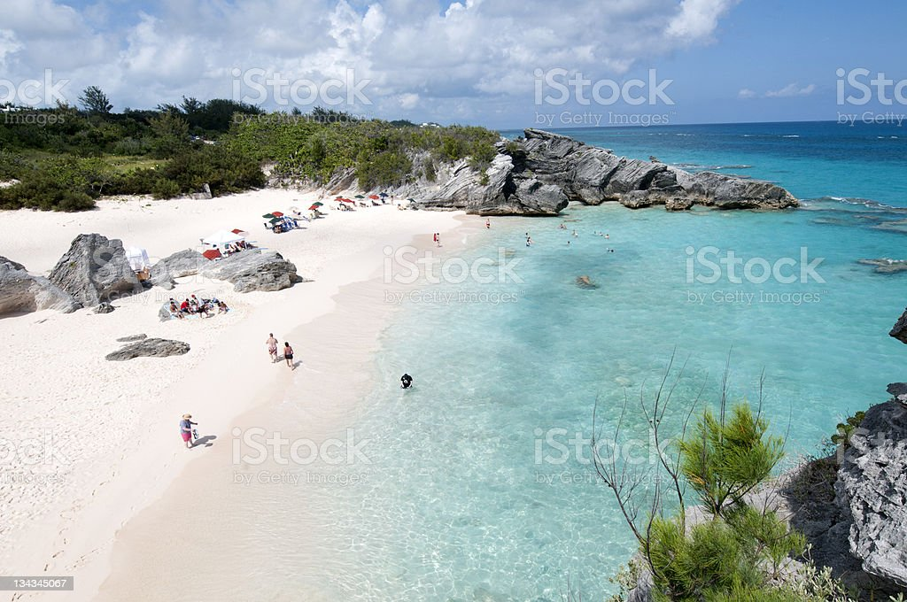 Beach in Horshoe bay Bermuda stock photo