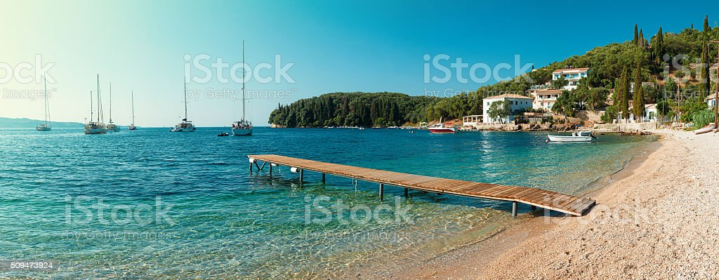 Beach in Kalami, Corfu stock photo