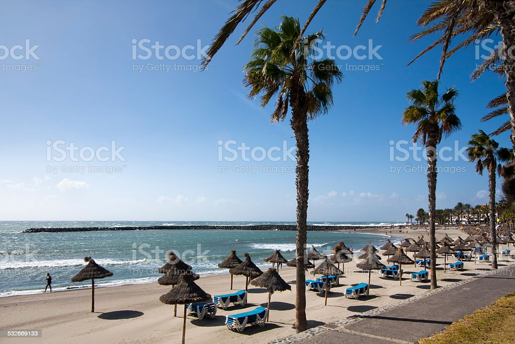 Beach in Las Am?ricas, Tenerife. stock photo