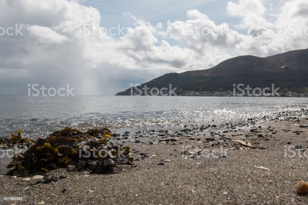 Beach in Newcastle, County Down, Northern Ireland stock photo