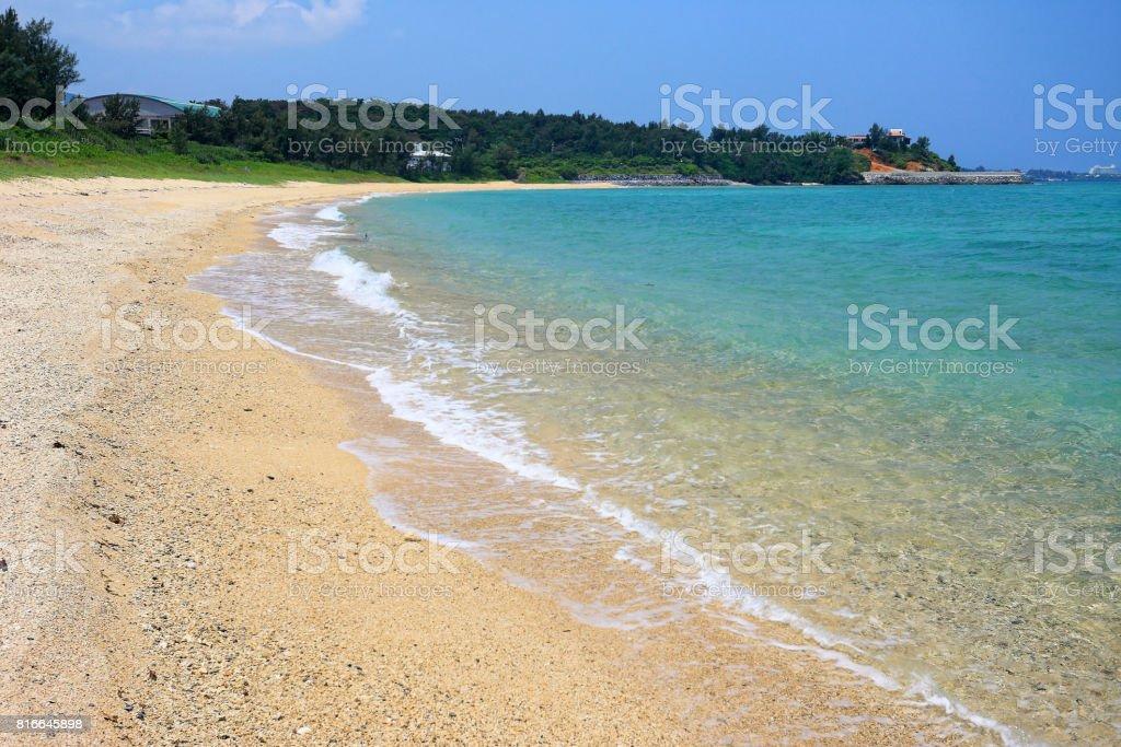 Beach in Okinawa main island stock photo