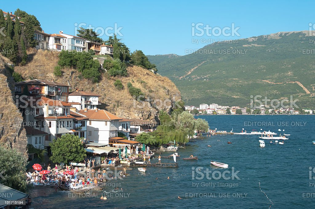 Beach In Old Ohrid, Republic Of Macedonia stock photo