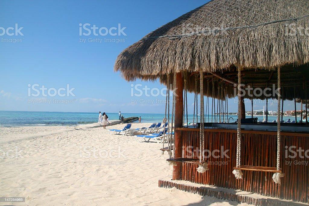 Beach in Playa del Carmen stock photo