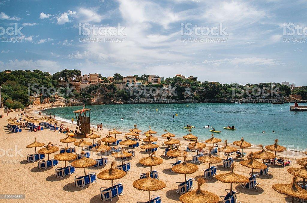Beach in Porto Cristo on Mallorca, Balearic Islands, Spain stock photo