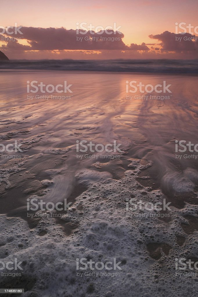 Beach in Portugal at Sunset stock photo