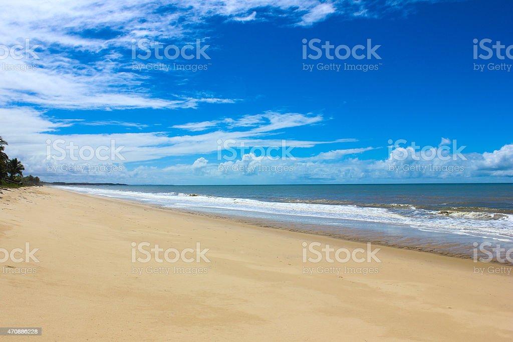 Beach in Prado, city in south Bahia, Brazil stock photo