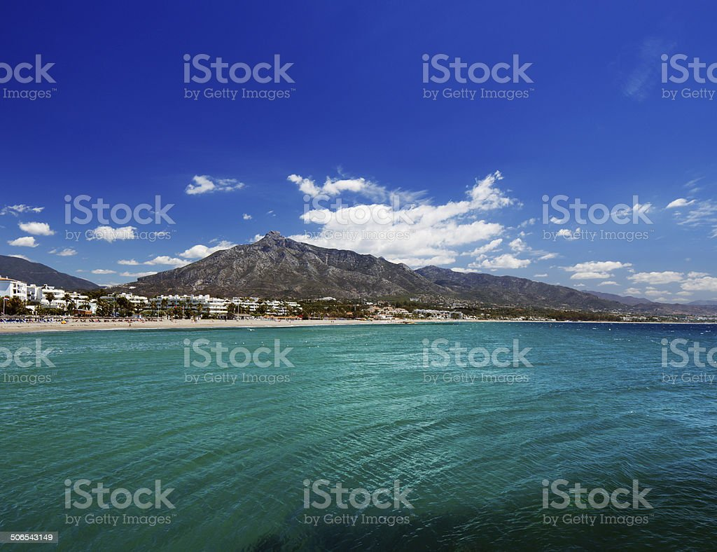 Beach in Puerto Banus, Marbella, Spain stock photo
