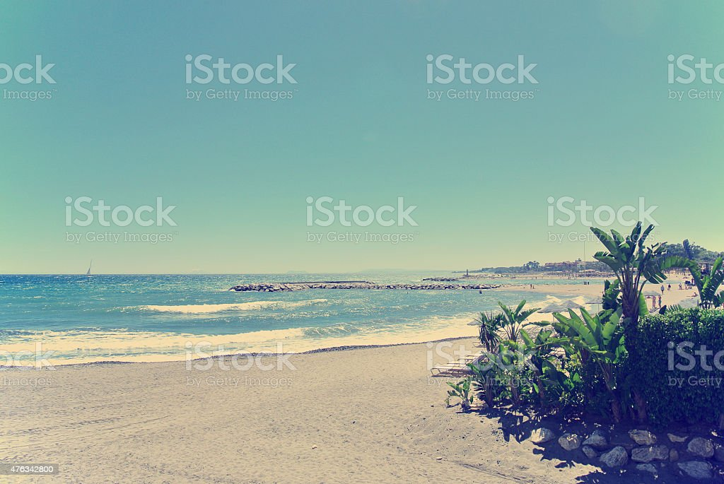 Beach in Puerto Banus, Marbella, Spain; retro/vintage stock photo