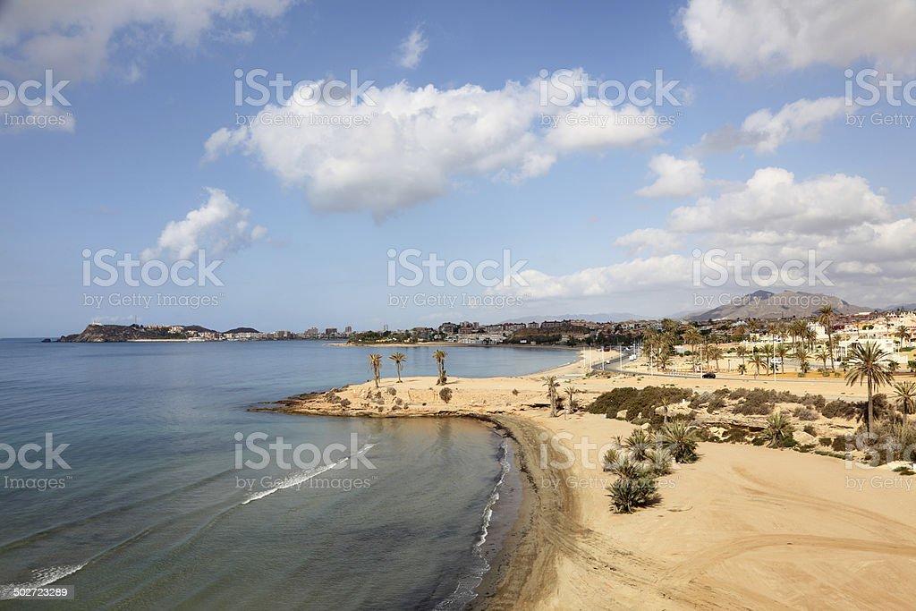 Beach in Puerto de Mazarron stock photo