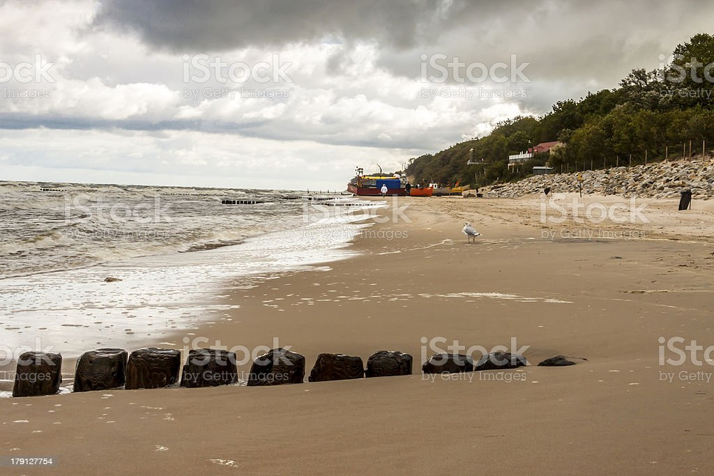Beach in Rewal - Poland. stock photo
