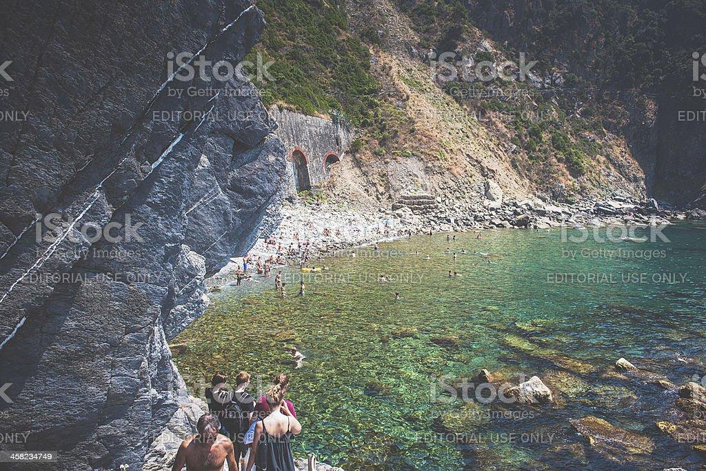 Beach in Riomaggiore, Italy royalty-free stock photo