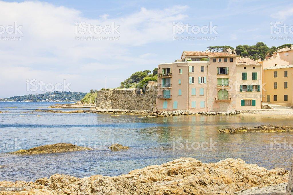 Beach in Saint-Tropez, France stock photo