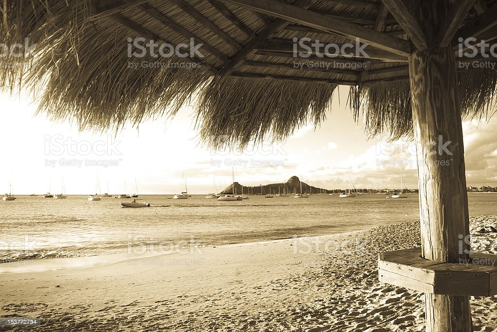 beach in sepia tone to give old photo look stock photo