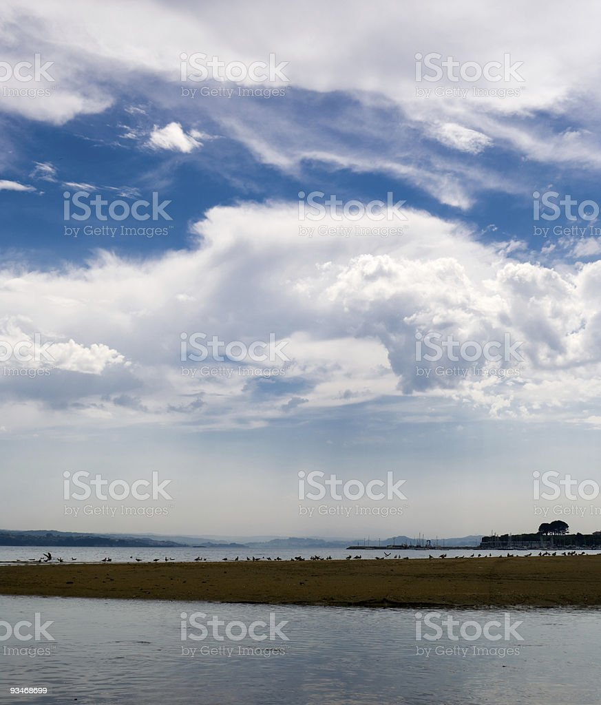 Beach in September stock photo