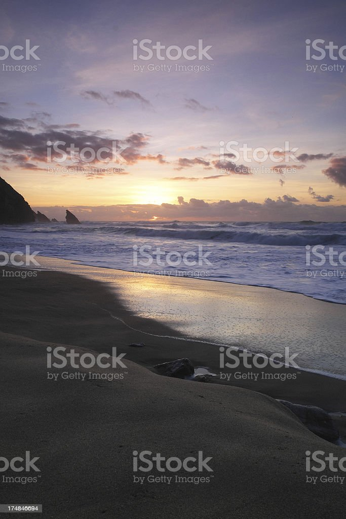 Beach in Sintra at Sunset stock photo
