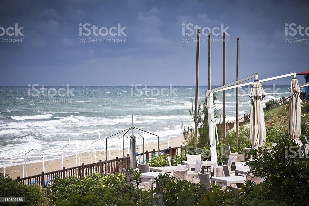 beach in storm stock photo