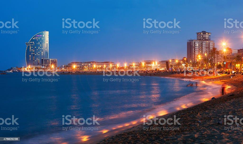 Beach in summer night in Barcelona, Spain stock photo