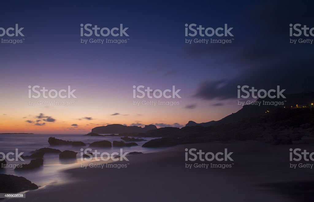 Beach in sunset time. Falasarna, Crete. stock photo